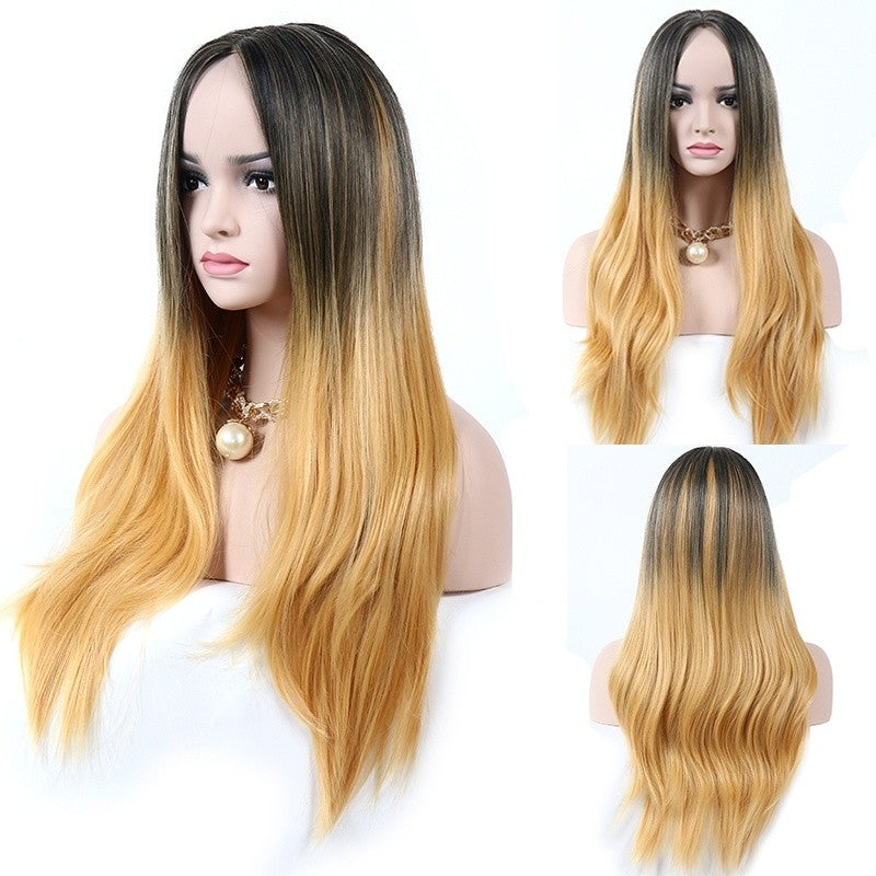 1Pc Women Gradient Color  Wave Wig Long Curly Human Hair Wigs - Jeybeauty