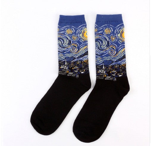 new personality art retro world famous oil painting series men's socks - Jeybeauty