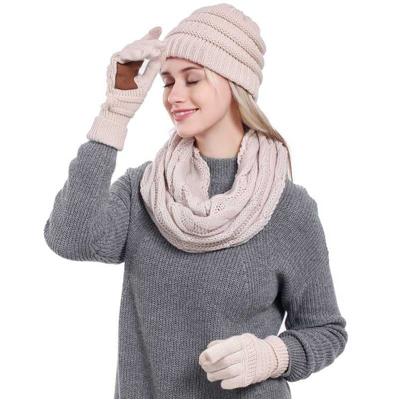 Scarf Gloves Ponytail Beanie Hat Knitted Warm Cap 3 pcs - Jeybeauty