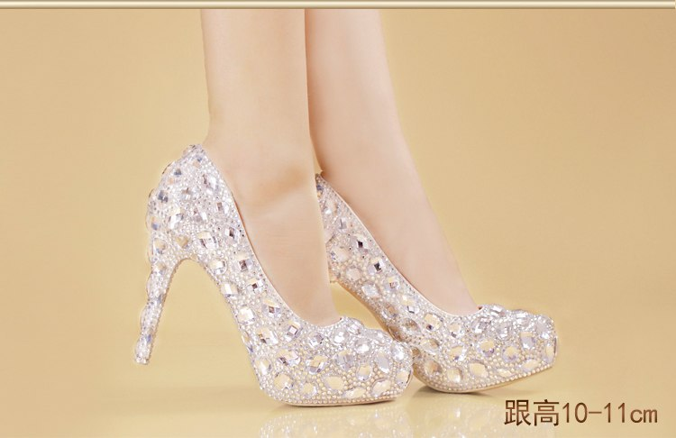 Crystal Shoes heels with a fine princess diamond Cinderella party shoes - Jeybeauty