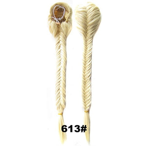 Braided Fishtail Ponytails Clip In Straight Pony Tail With Elastic - Jeybeauty