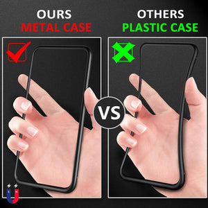 Magnetic Case for iPhone XR XS MAX X 8 Plus 7 + Metal Tempered Glass Back Magnet Cases Cover for iPhone 7 6 6S Plus Case - Jeybeauty