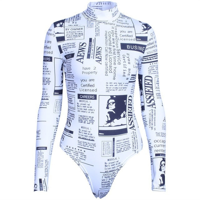 print newspaper turtle-neck bodysuit - Jeybeauty