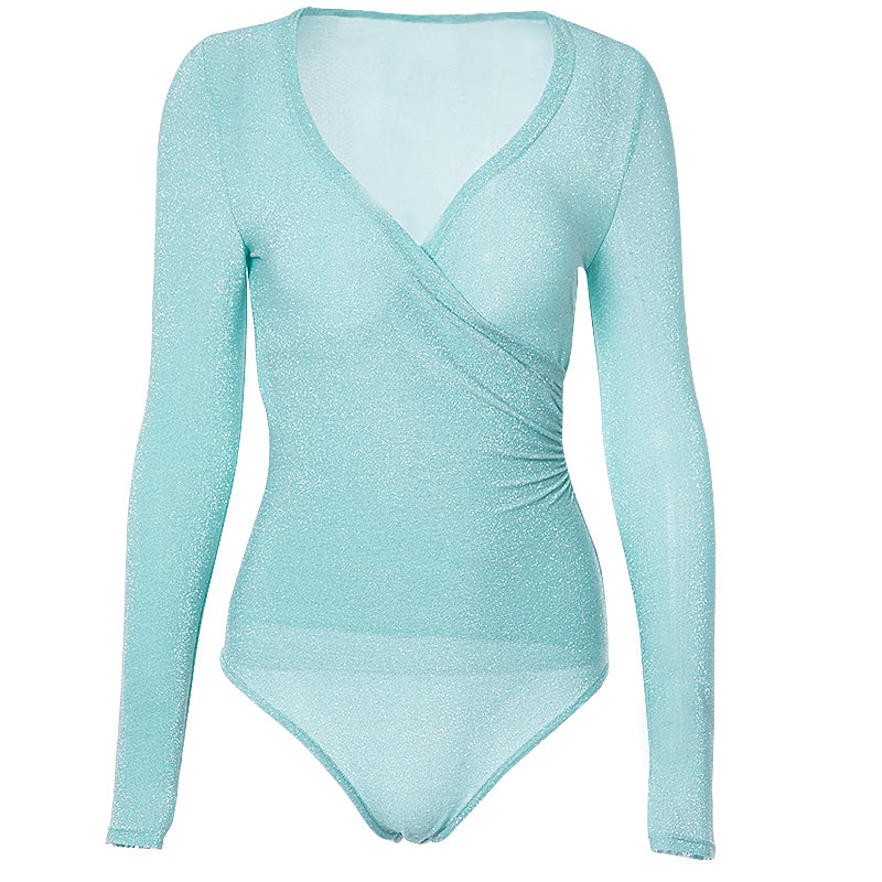 Mint Green Deep V Neck Bling Bodysuits - Jeybeauty