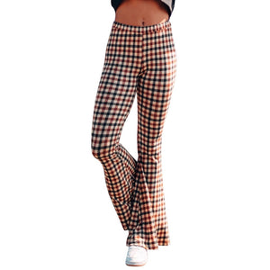 Ladies Flare Pants Plaid Printing Trousers - Jeybeauty