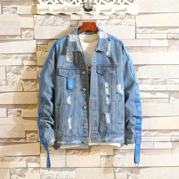 Vintage Wash Distressed Denim Jacket - Jeybeauty