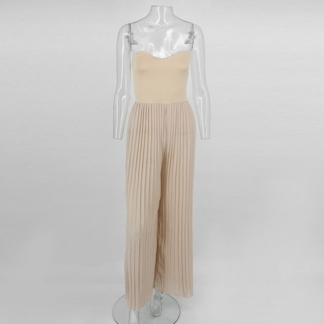 Pleated Jumpsuit Strapless Backless Rompers - Jeybeauty