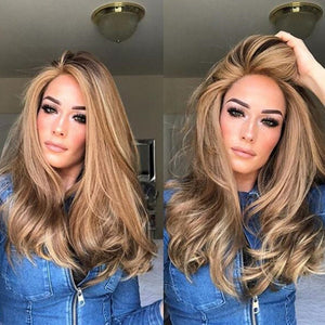 Platinum ombre blonde Big Wavy Long Curly Hair wig - Jeybeauty
