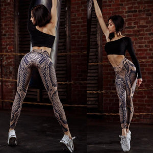 Snakeskin Pattern Workout  Skinny Leggings - Jeybeauty