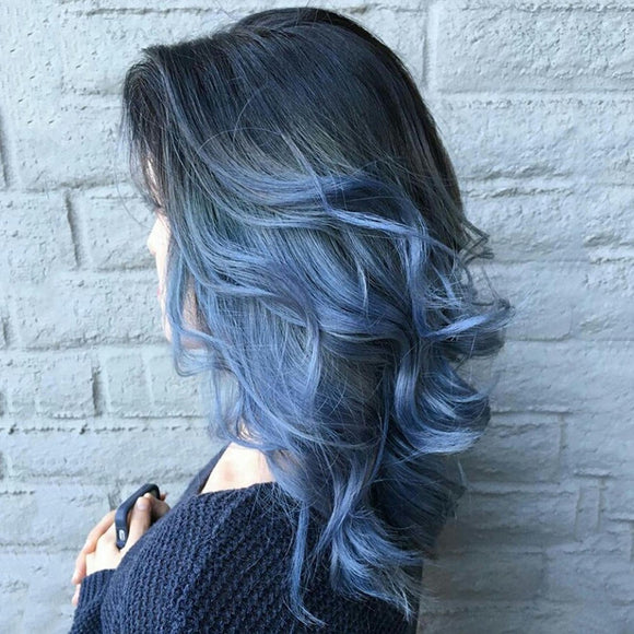 Black to Blue Wavy High Fiber Full Wigs - Jeybeauty