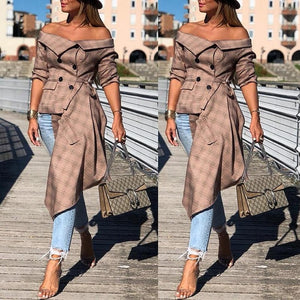 Off Shoulder Grid Long Sleeve Irregular Coat - Jeybeauty