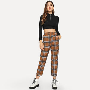 Tapered Carrot Crop Trousers - Jeybeauty