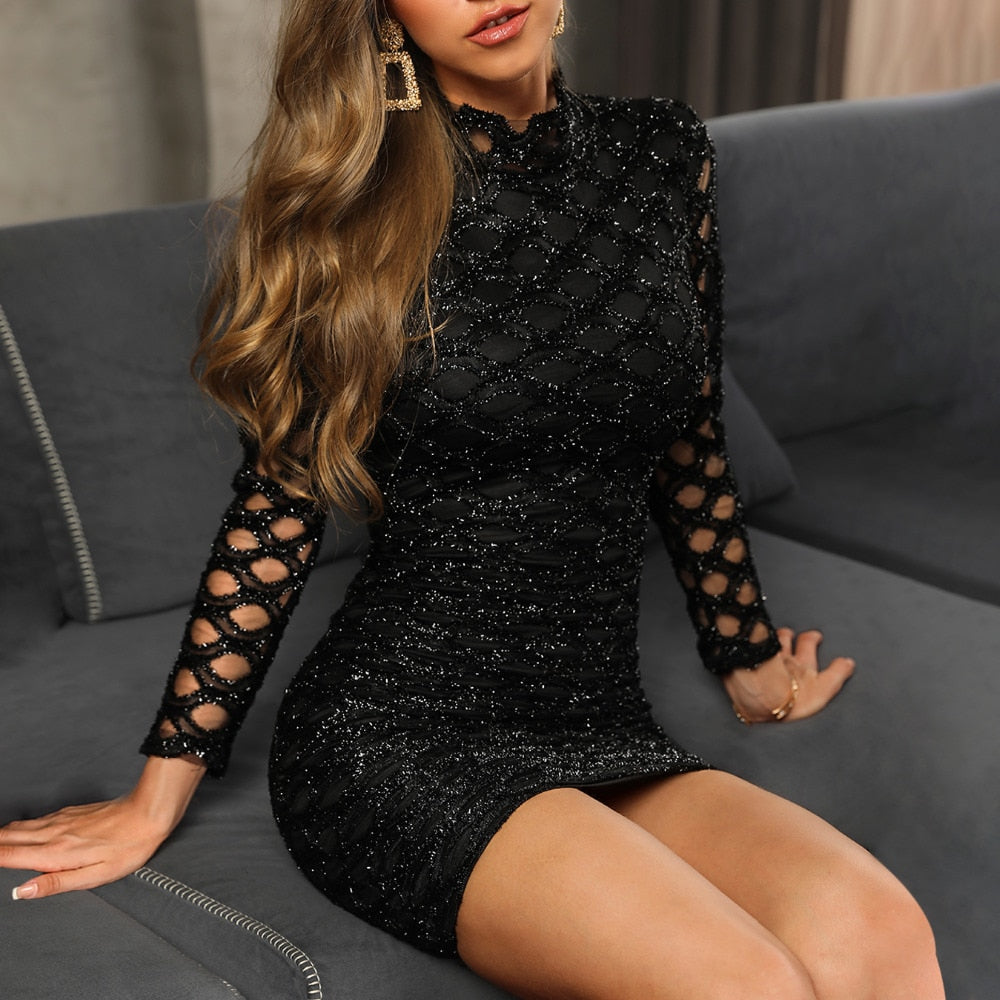 Glitter Hollow Out Bodycon Dress - Jeybeauty