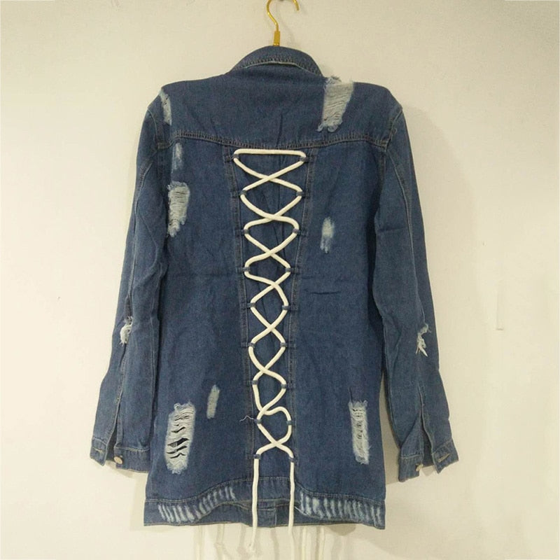 high quality Lace Up denim Hole long pocket  jacket coat - Jeybeauty