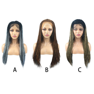 Hair Braided Lace Front Wig Long Black Ombre Braid Wigs - Jeybeauty