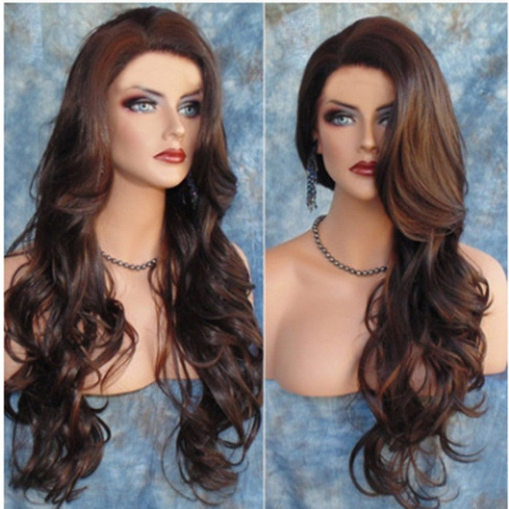 Long Loose Wavy Syntheic Wig Front Wig Curly Full Natural Hair Wigs Women Black - Jeybeauty