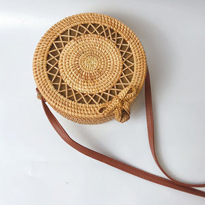 Hot 2019 Circle Handwoven Bali Round Retro Rattan Straw Beach Bag - Jeybeauty