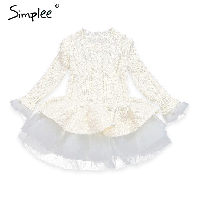 Beautiful Girl Sweater Bule Coffee Pullover Knitted Outerwears Smart Lace Dress - Jeybeauty