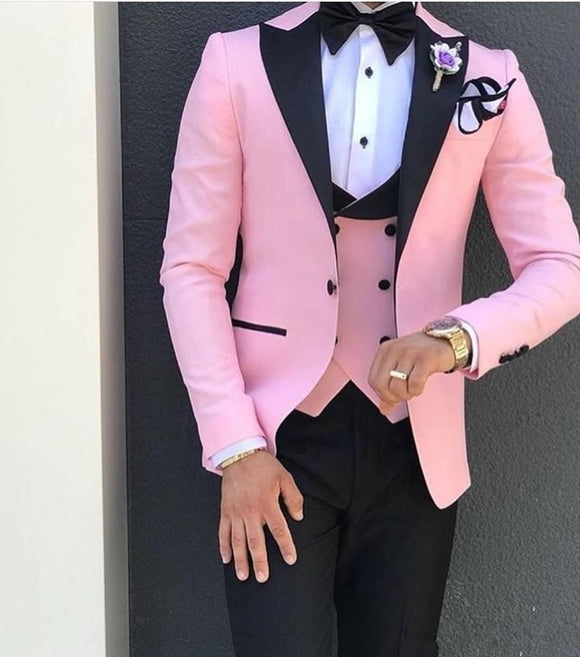 Pink With Black Lapel Suits for Men Custom Made 3 Piece Suit(Jacket+Pant+Vest) - Jeybeauty