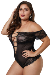 Sheer Lace Detail Teddy Lingerie - Jeybeauty