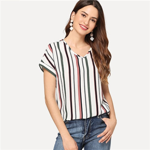 V Neck Curved Hem Striped  Tops - Jeybeauty