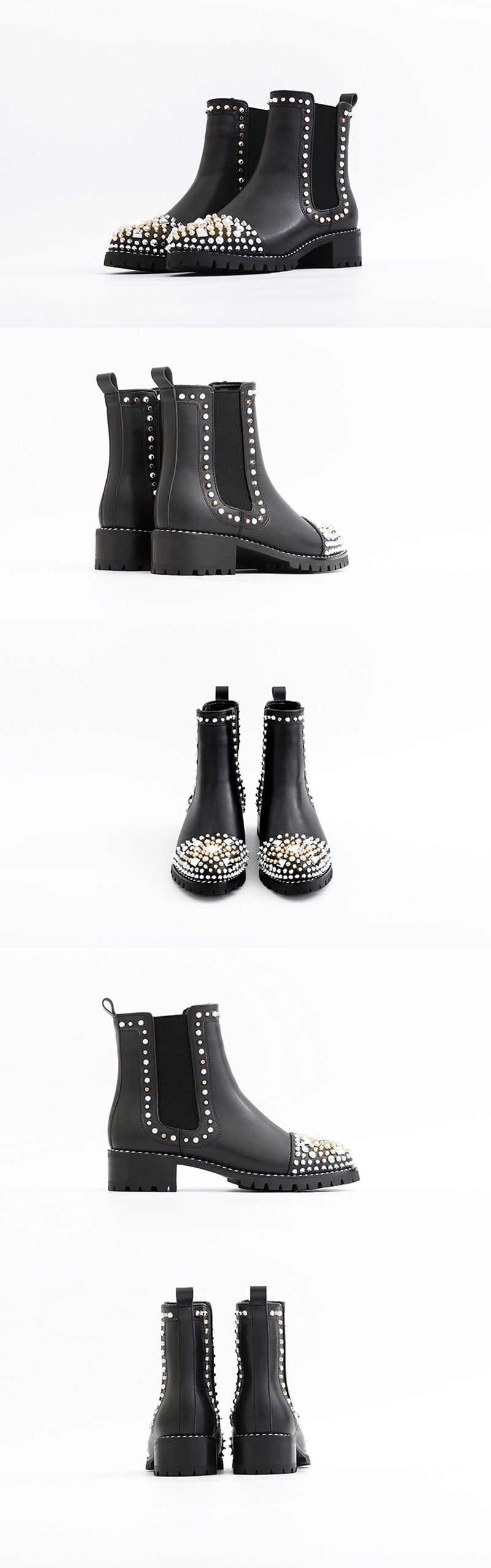 Rivet Boots Genuine Leather Ankle Boots - Jeybeauty