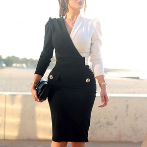 Contrast Color Two Tone Metallic Button Blazers Midi Dress - Jeybeauty