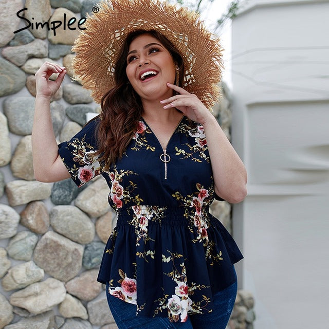 Simplee Bohemian floral print plus size women blouse shirt V-neck elastic high waist tops female Summer casual chiffon blouse - Jeybeauty