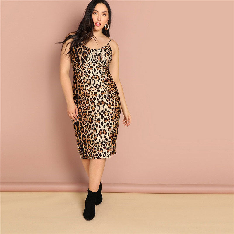 SHEIN Plus Size Leopard Print Sleeveless Bodycon Slip Dress Summer Spaghetti Strap Women Sexy Going Out Pencil Party Dresses - Jeybeauty
