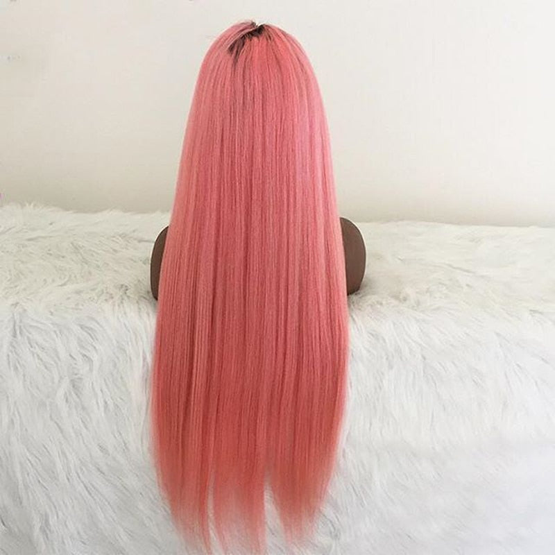 Candy Pink Dark Root Remy Full Lace Human Hair Wig - Jeybeauty