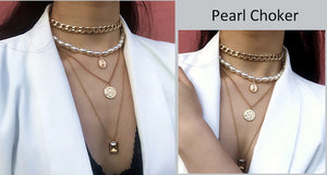 Statement Punk Multi Layered Pearl Choker Necklace - Jeybeauty