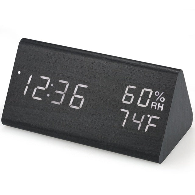 2019 New Digital LED Alarm Clock Sound Control Wooden Alarm Clock 3 Alarms USB/Battery Table Clock Indoor Hygrometer Thermometer - Jeybeauty