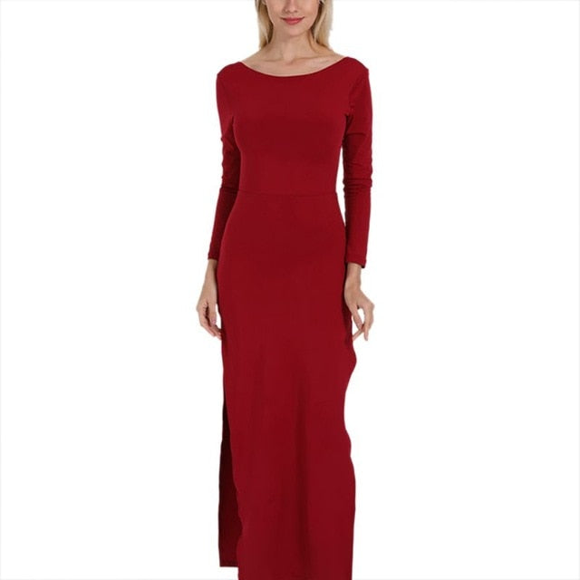 High Split Maxi Dress Sexy Backless Bodycon - Jeybeauty