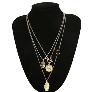 Statement Multi Layer Chain Pendant Choker Necklace Portrait Coin - Jeybeauty