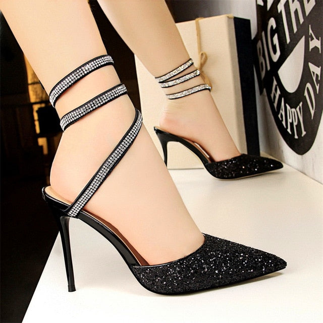 Shallow Ankle Strap Sandals Pointed Toe - Jeybeauty