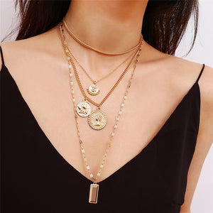 Ladies Statement Multilayer Carved Coin Choker Necklace - Jeybeauty