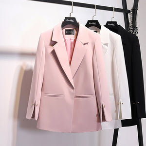 New Pattern Coat Notched Collar Spilt Blazer - Jeybeauty