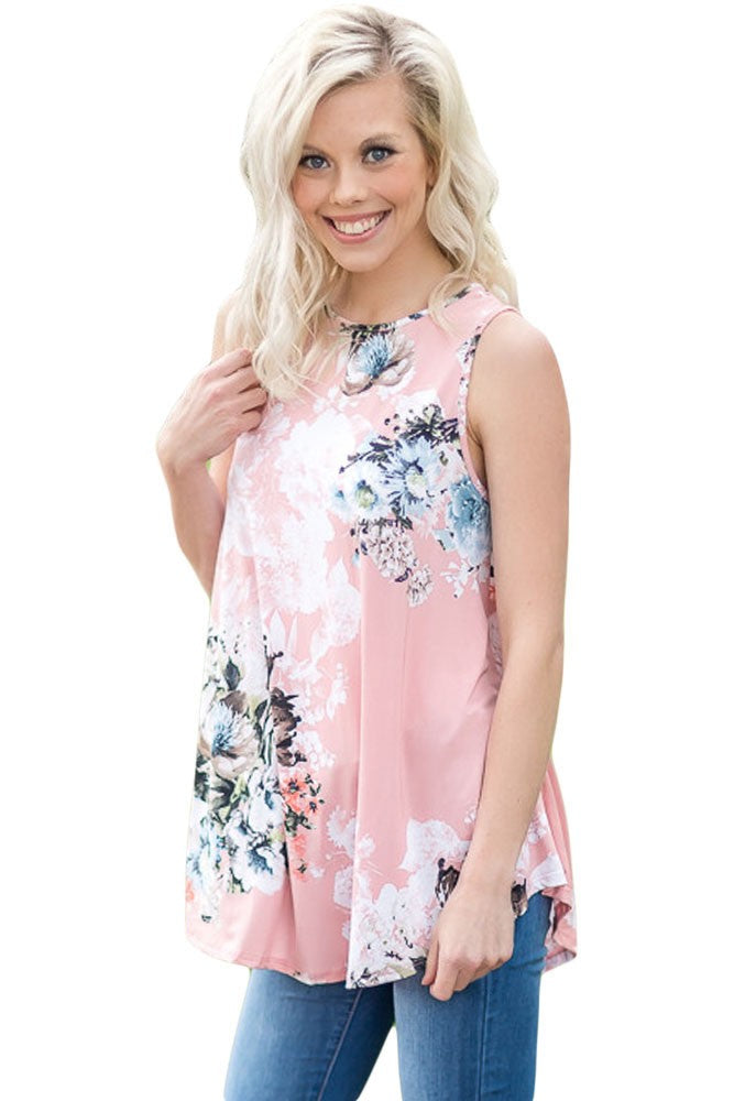 Pink Floral Print High Neck Tank Top - Jeybeauty