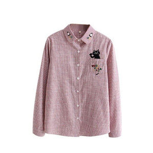Floral Embroidered Cat Blouse - Jeybeauty
