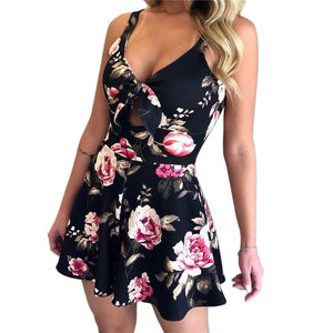 Lace Up Print Floral Casual Short Jumpsuit - Jeybeauty