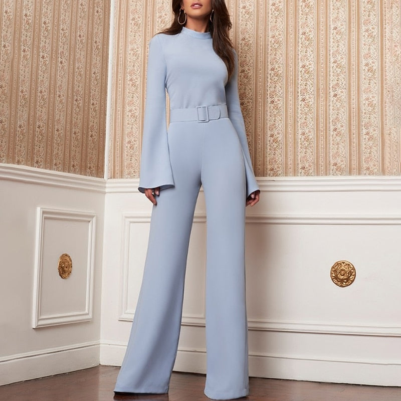 High Neck Bell Sleeve Wide Leg Romper With Belt - Jeybeauty