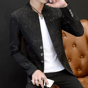 collar Slim print suit - Jeybeauty