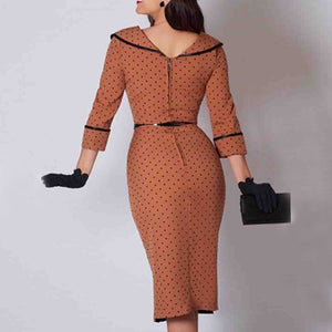 Elegant Wave Point Pencil Bodycon Dress - Jeybeauty