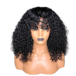 Brazilian Deep Part Curly Lace Front Wig With Bangs - Jeybeauty