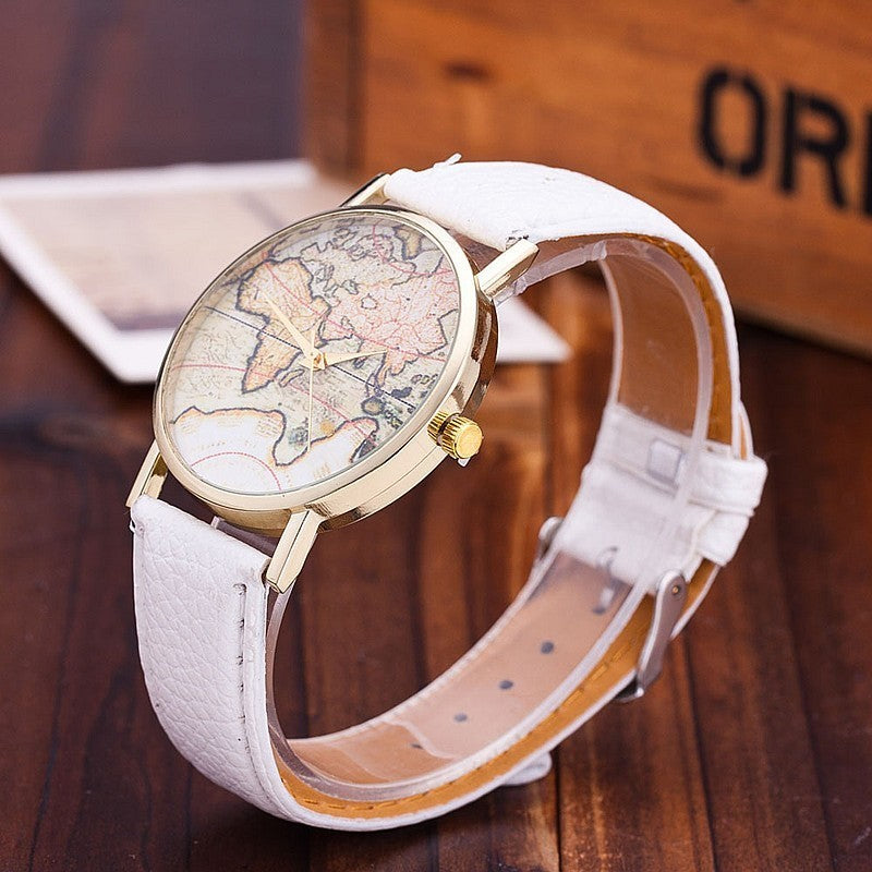 Casual Leather World Map Watch - Jeybeauty