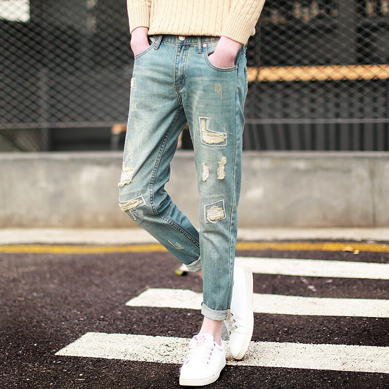 Ripped hole Distressed Patch jeans - Jeybeauty