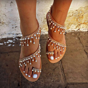Comfortable Gladiator String Beads Flip Flops - Jeybeauty