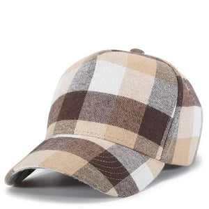 Unisex Soft Cotton Plaid Baseball Cap - Jeybeauty