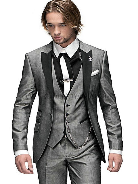 Olive Green Groom Blazers 3 pieces Suits (Jacket+Pants+Vest+Tie) - Jeybeauty