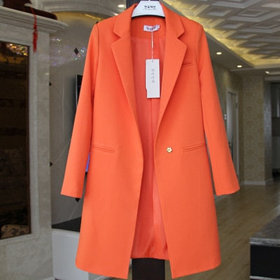 Orange long-sleeved jacket - Jeybeauty